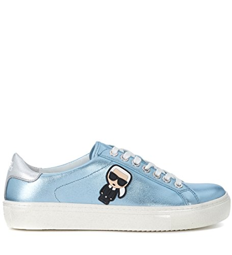 Karl Lagerfeld Womens Metallic Light Blue Leather Sneaker Light Blue scIa4YU