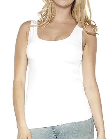 Ahh By Rhonda Shear Women's Plus Size Seamless Tank W/ Shelf Bra, White, XL (Shelf Bra Tank Plus)