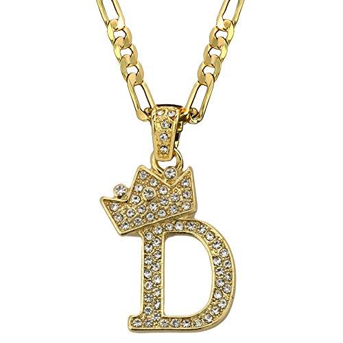 (L2JKinc Hip Hop Unisex Small Alphabet Crown LETTER Pendant 24