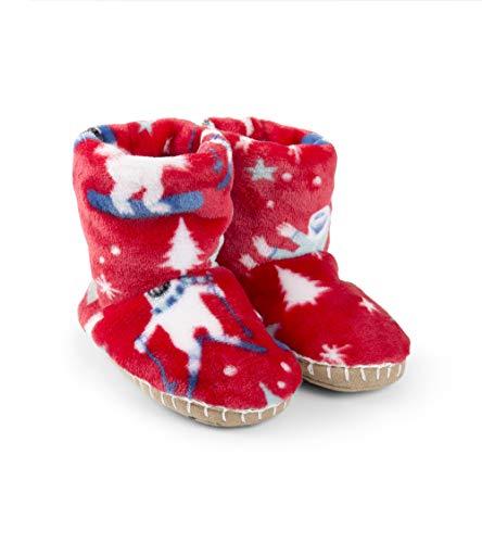 Hatley Boys' Little Fuzzy Fleece Slouch Slippers, mountain monsters, Large (11-13 US Kids Shoe Size)]()
