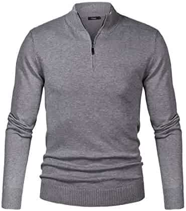 3413831ed iClosam Mens Casual Slim Fit Zip up Pullover Sweaters Mock Neck Polo  Sweaters with Ribbing Edge