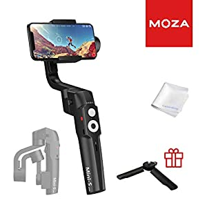 MOZA Mini-S Essential Foldable Gimbal stabilizer for Smartphone Timelapse Object Tracking Zoom Vertigo Inception 3-Axis Video Stabilizer for iPhone Xs/Max/Xr/X/11 Pro Max Samsung Note 9/S9 Huawei 22