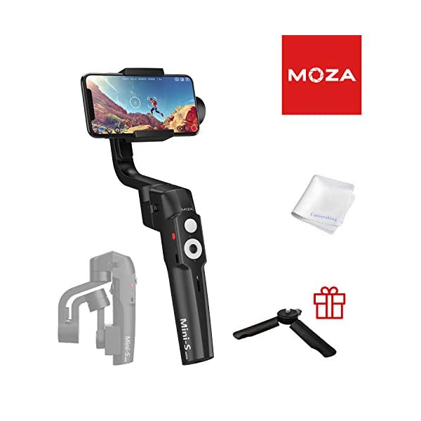 MOZA Mini-S Essential Foldable Gimbal stabilizer for Smartphone Timelapse Object Tracking Zoom Vertigo Inception 3-Axis Video Stabilizer for iPhone Xs/Max/Xr/X/11 Pro Max Samsung Note 9/S9 Huawei 1