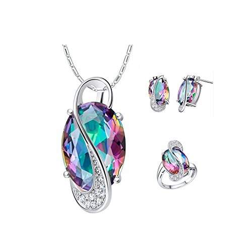 Uloveido Silver Plated Jewelry Set Rainbow Mystic Topaz Ring Earrings Pendant Necklace T472-Silver-Multi-7 (Jewellery Mystic Topaz)