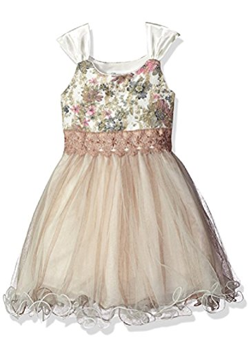 Bonnie Jean Big Girls' Bonded Floral Lace Bodice to Tulle Skirt, Ivory, (Bonnie Jean Ivory Dress)