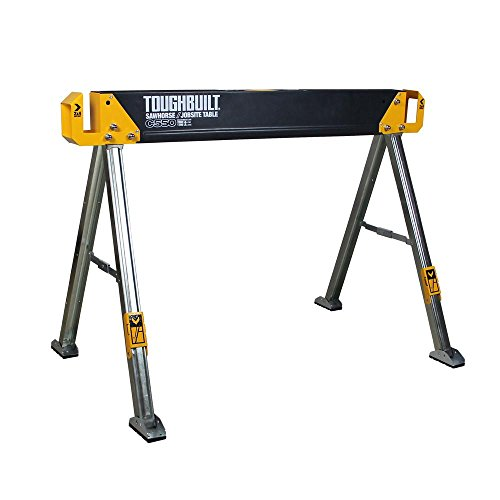 (ToughBuilt - Folding Sawhorse/Jobsite Table - Sturdy, Durable, Lightweight, Heavy-Duty, 100% High Grade Steel, 41.5-Inch, Easy Carry Handle (TB-C550) )
