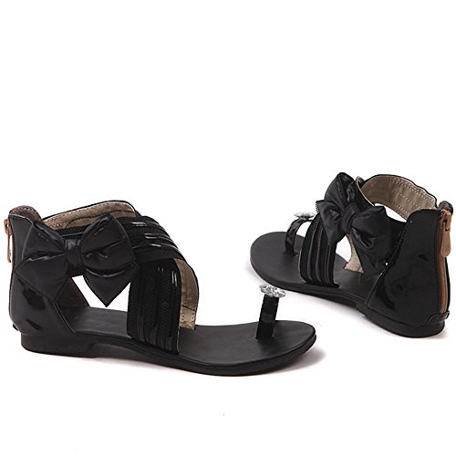 TAOFFEN women Casual Cross Criss Bowtie Zipper Flat Sandals Black 8KAwXlzsyy