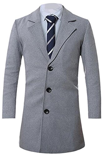 Labaqiangj Men Slim Fit Wool-Blend Single Breasted Trench Coat Jacket Light GreyUS S=China L (Morph Suit Price)