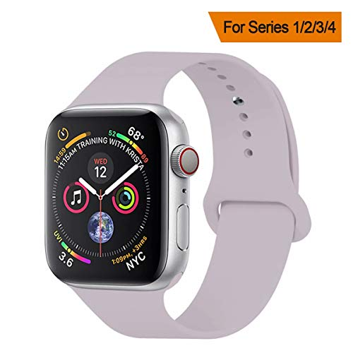 YANCH Compatible with for Apple Watch Band 38mm 40mm, Soft Silicone Sport Band Replacement Wrist Strap Compatible with for iWatch Nike+,Sport,Edition,M/L,Lavender