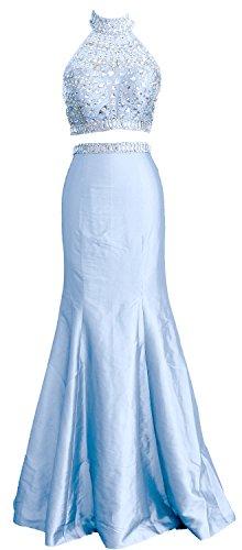 Dress Piece Formal High Himmelblau Long Neck Two Women Mermaid Taffeta Gown Prom MACloth qOnUTzT