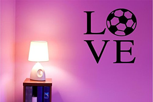 LOVE SOCCER / Vinyl Wall decal - Large Home Sports Decor - 20''x20'' by DS Inspirational Decals