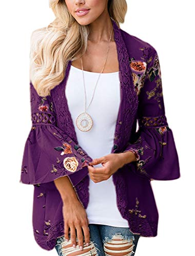 Basic Faith Women's S 3XL Floral Print Kimono Tops Cover Up Cardigans Plum M
