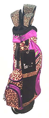 (Birdie Babe Purple Leopard Womens Golf Bag Pkg with Headcovers and Towel )