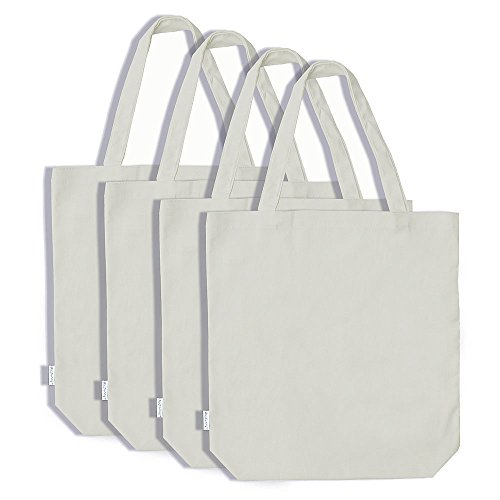 [Augbunny 100% Cotton Canvas Shopping Tote Bag Grocery Bag 4-pack] (100% Cotton Canvas Bag)