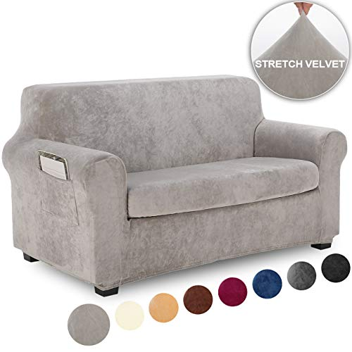 TIANSHU Fleece Slipcover 2 Piece, Velvet Plush Couch Cover for Sofa, Stylish Luxury Furniture Covers with Utility Pockets (Loveseat, Light Gray) (Sofa Set Online)