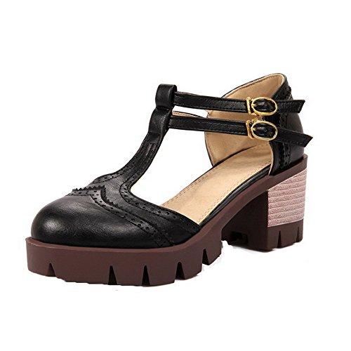 à Talon Unie Correct AgooLar Femme Boucle Couleur PU Cuir Noir Sandales GMBLA012951 Rond 0O60C