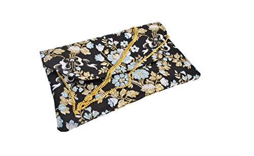 Bolso Clutch/Sobre de tela fallera valenciana negra con estampado de flores doradas y azules: Amazon.es: Handmade