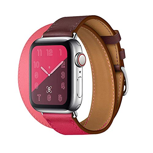 Compatible/Replacement for Apple Watch Band 44mm 40mm 42mm 38mm Series 4/3 /2/1 Double Tour Replace for iWatch Strap Leather Bands (Double -Bordeaux/Rose Extrême/Rose Azalée, 42/44)