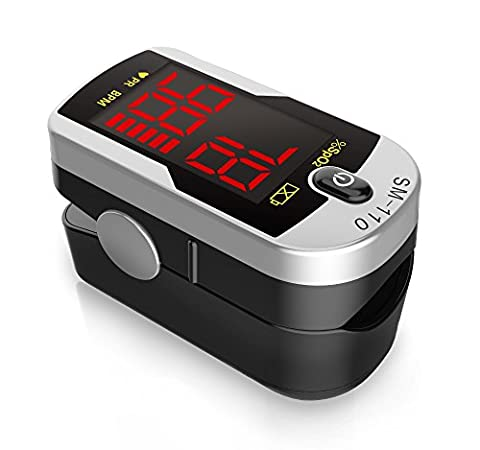 Deluxe SM-110 Two Way Display Finger Pulse Oximeter with Carry Case and Neck/Wrist Cord (Pulse Oximeter Digital)