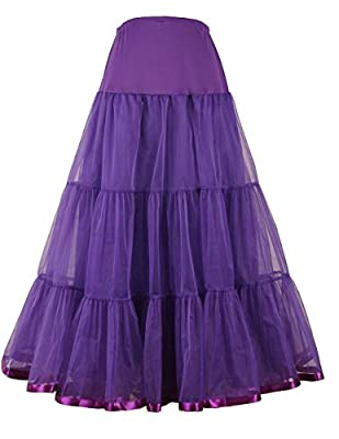 PDOL Women's Ankle Length Petticoat Crinoline Underskirt for Long Dress