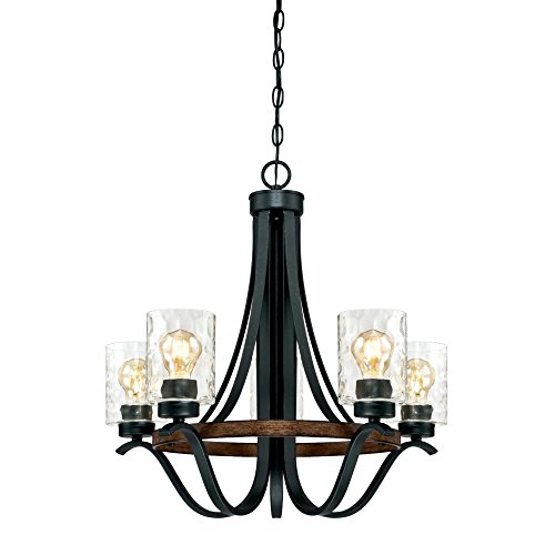 Westinghouse Lighting 6331900 Barnwell Five-Light Indoor Chandelier, Textured Iron and Barnwood Finish with Clear Hammered Glass, 5