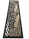 Animal Skin Print Runner Rug Leopard Tiger Black Skinz Design 70 (2 Feet X 7 Feet)