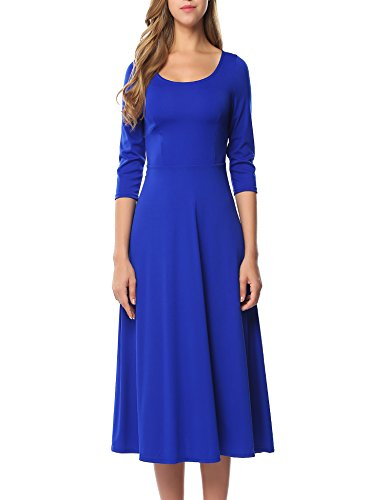 (ACEVOG Women's 3/31 Sleeve A-line Casual Flare Midi Long Dress for Office Business Work)