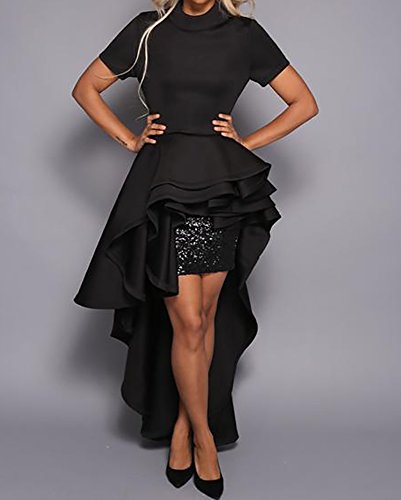Runway Dress Swallowtail High Club Womens Top Dresses for Party Ruffle Black Maxi Short Sleeve Peplum Low Misassy w5P0fx4qf