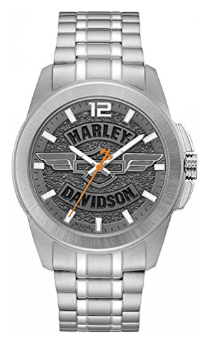 Harley-Davidson Men's Wing Bar & Shield Stainless Steel Watch, Slate Gray 76A157