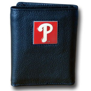 (MLB Philadelphia Phillies Genuine Leather Tri-fold Wallet)