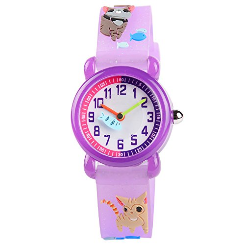 Venhoo Kids Watches Cartoon Waterproof Silicone Children Wristwatches Time Teacher Gifts for Girls (Purple Cat Finish)