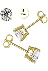 Crazy2Shop 14K Yellow gold Round Cut Simulated Diamond Earring (1 cttw), 5mm