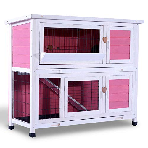Lovupet 2 Story Outdoor Wooden Rabbit Hutch Chicken Coop Bunny Cage Guinea Pig House with Ladder for Small Animals 0323(Pink) - Medium Pink Rabbit