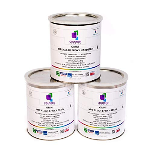 Coloredepoxies 10002 Clear Epoxy Resin Coating 100% Solids High Gloss For Garage Floors Basements Concrete and Plywood 3 Gallon Kit