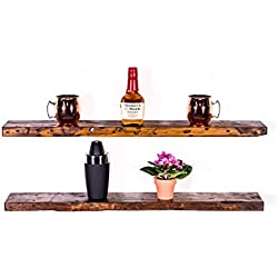 "DAKODA LOVE 5.25"" Deep Rugged Distressed Floating Shelves, USA Handmade, Clear Coat Finish, 100% Countersunk Hidden Floating Shelf Brackets, Beautiful Grain Pine Wood Rustic (Set of 2) (36"", Bourbon)"