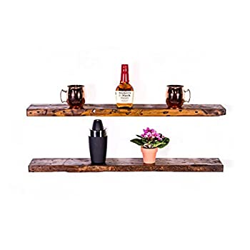 "DAKODA LOVE Rugged Distressed Floating Shelves, USA Handmade, Clear Coat Finish, 100% Countersunk Hidden Floating Shelf Brackets, Beautiful Grain Pine Wood Rustic Wall Decor (Set of 2) (36"", Bourbon)"
