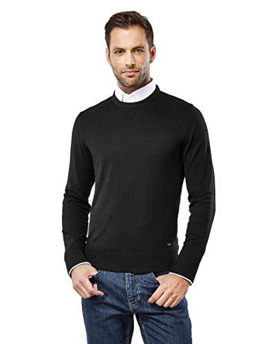 Crew Ribbed Sweater (Vincenzo Boretti Men's Classic Knit Sweater With Crew Neck, Slim-Fit,Black,Small)