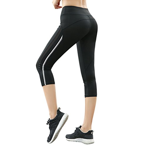 IvyMei Ivy Women's High Elastic, Butt Lift, Running Workout, Upgrade Capri Yoga Mesh Pants Legging Black (Middle)