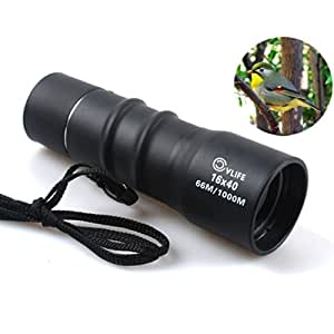 CVLIFE 16x40 Black Compact Sports Monocular Pocket Mono Spotting Scope with Pouch