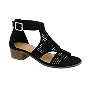 Top Moda GILIAN-1 Women's Ankle Strap Open Toe Heeled Sandal (6, Black)
