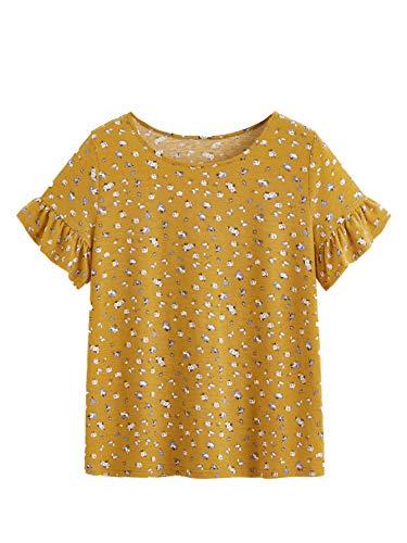 - WDIRARA Women's Casual Floral Summer Ruffle Stretch Short Sleeve Top Shirts Yellow XS