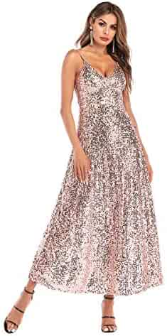 978d2162e41 ilovgirl Prom Dress for Women Long Sequin Formal Gown Backless Sexy Party  Evening Cocktail Dresses