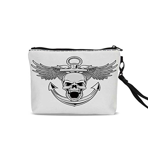 Anchor Decor Portable Art Storage Bag with Cosmetics,Skull with Anchor and Eagle Wings Freedom Symbol Devil Sea Hunter Skeleton Myth Graphic For Women Girl,9