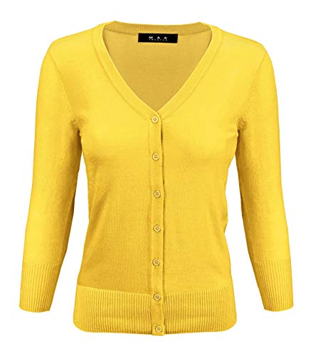 (YEMAK Women's 3/4 Sleeve V-Neck Button Down Knit Cardigan Sweater CO078-BYL-2X Baby Yellow)
