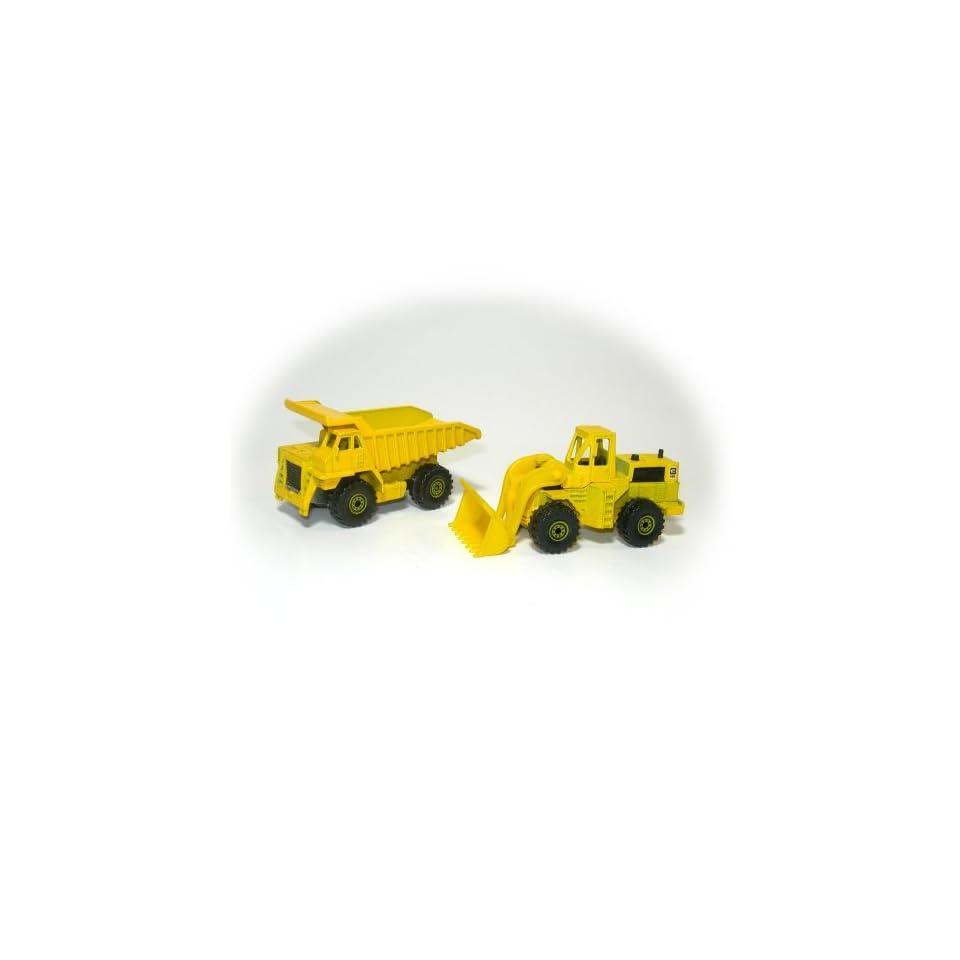 Vintage 1979 Hot Wheels Die Cast 1/64 Scale Caterpillar Dump Truck & CAT 988 Wheel Loader