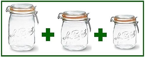 Set of 3 - Le Parfait French Super Canning Jars With Bail Li