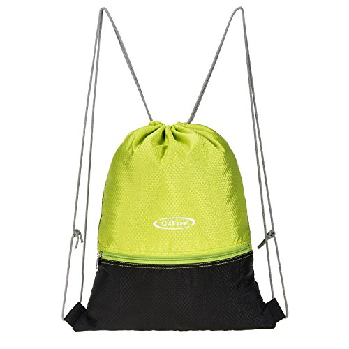 G4Free Water Repellent Gymbag Large Drawstring Backpack String Bag Cinch Sack Gymsack Sackpack for Shopping Sport Yoga Tennis Ball (Bag Water Repellent)