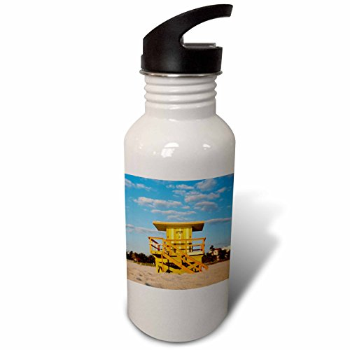 Lifeguard Hut (3dRose Danita Delimont - Florida - Lifeguard hut, South Beach, Miami, USA - Flip Straw 21oz Water Bottle (wb_230517_2))