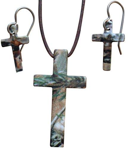 Stahl Cross Camo Jewelry (Realtree AP Earring & Necklace Set) -