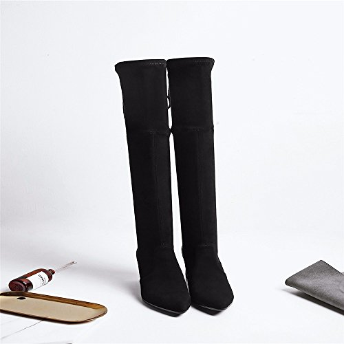 HXVU56546 Botas De Invierno el Diseñador De Moda Calzado con Zapatos De Tacón De Rodilla Elástica Black
